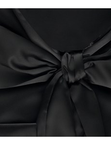 Women's Black Fitted Satin Blouse - Pussy Bow