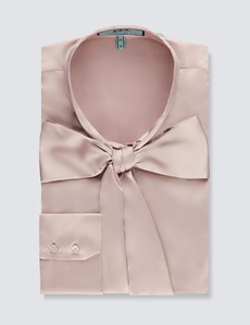 Women's Taupe Fitted Satin Blouse - Pussy Bow