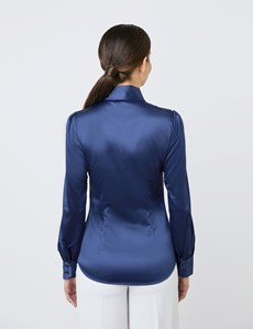 Women's Navy Fitted Luxury Satin Blouse - Pussy Bow