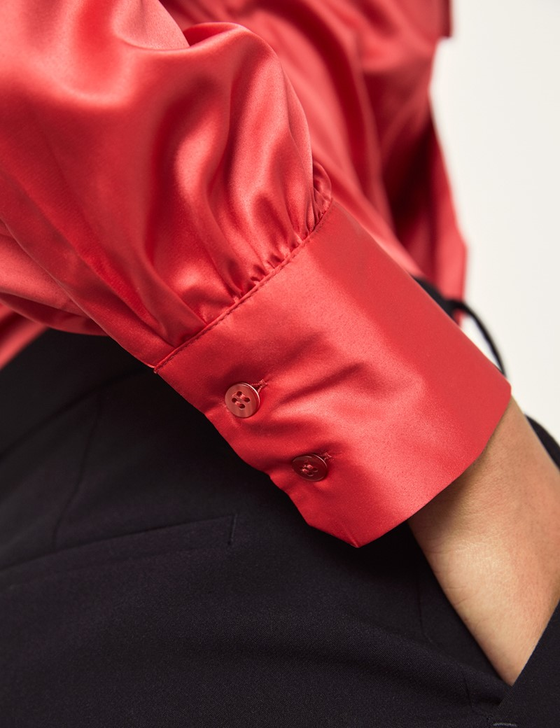 Women's Red Fitted Luxury Satin Blouse - Pussy Bow