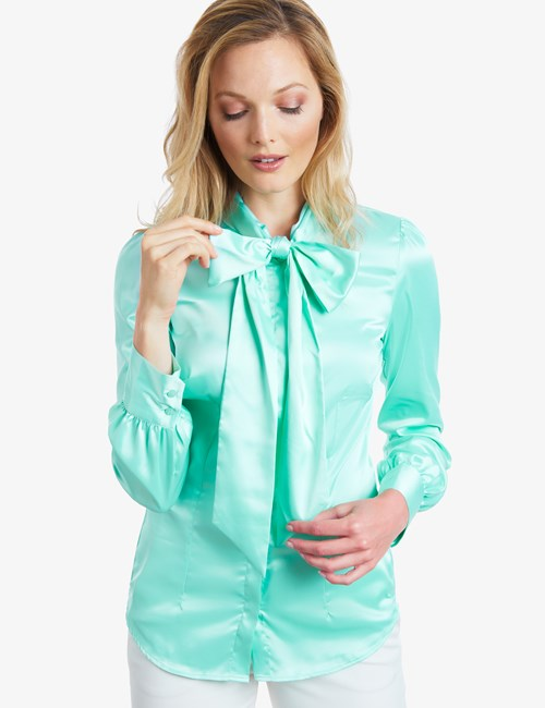 Women's Aqua Fitted Satin Blouse - Pussy Bow