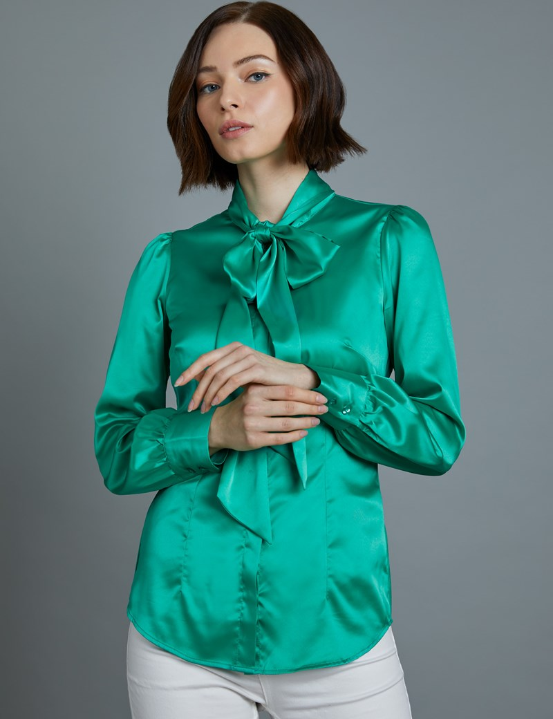 Women's Green Satin Fitted Shirt - Single Cuff - Pussy Bow