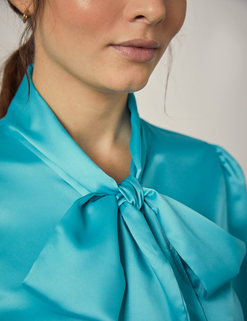 Women's Ocean Blue Satin Fitted Shirt - Single Cuff - Pussy Bow