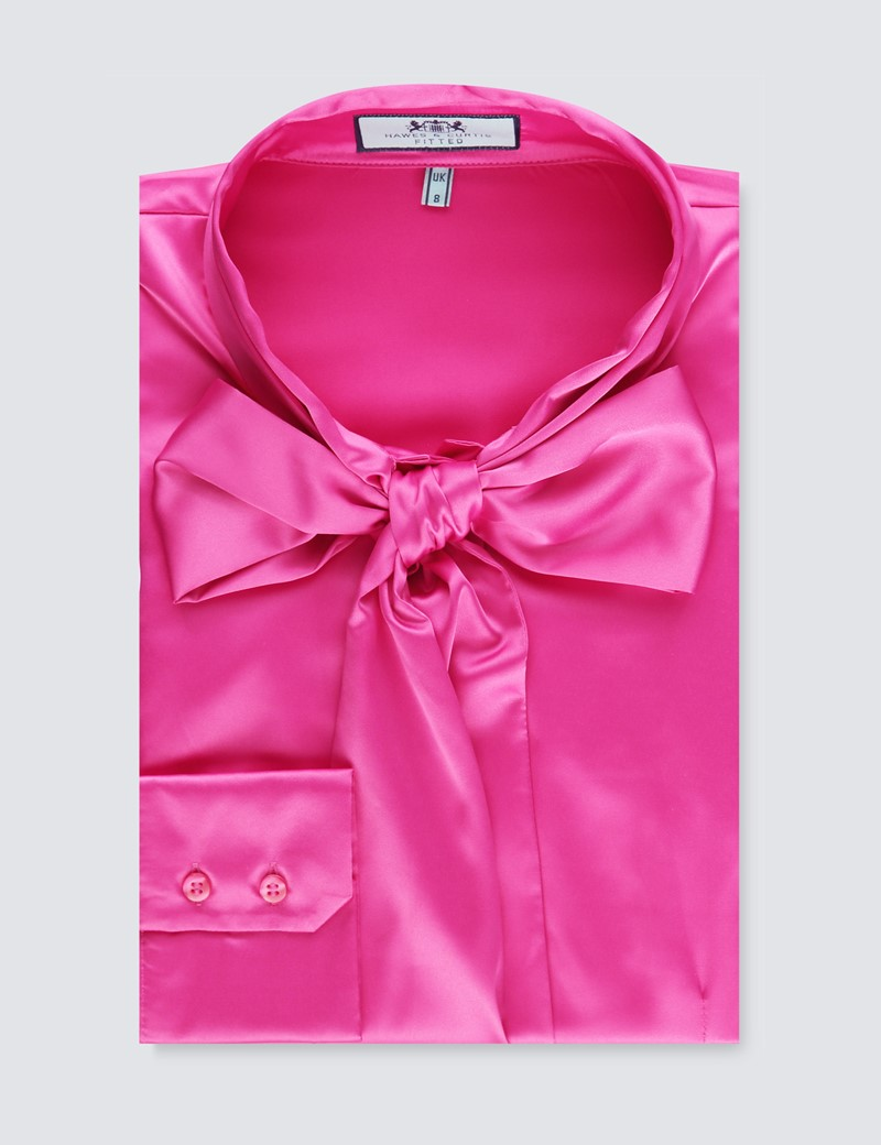 Women's Hot Pink Satin Fitted Shirt - Single Cuff - Pussy Bow
