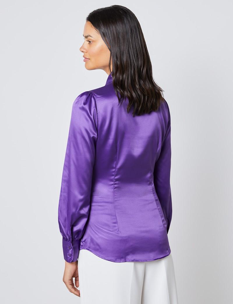 Schluppenbluse – Slim Fit – Satin – Violett