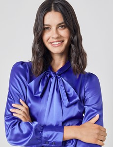 Women's Electric Blue Fitted Satin Blouse - Single Cuff - Pussy Bow