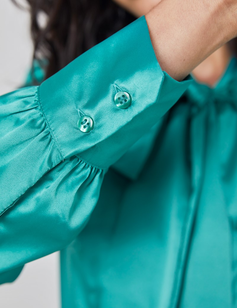 Women's Jade Fitted Satin Blouse - Single Cuff - Pussy Bow
