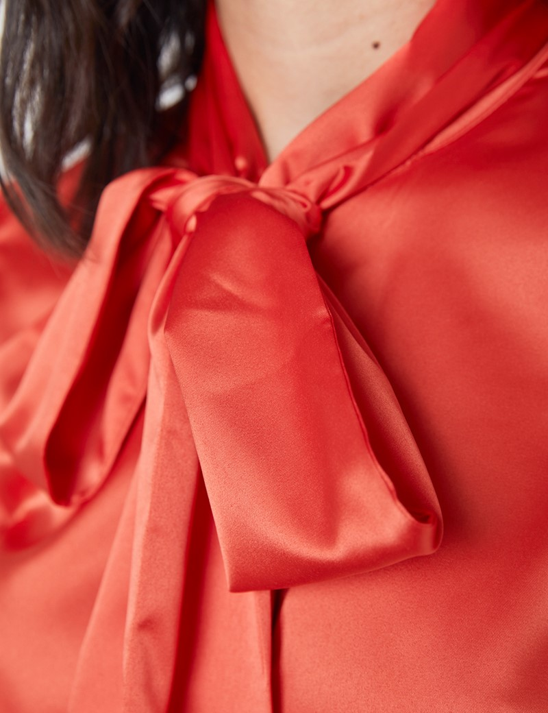 Women's Orange Fitted Satin Blouse - Single Cuff - Pussy Bow