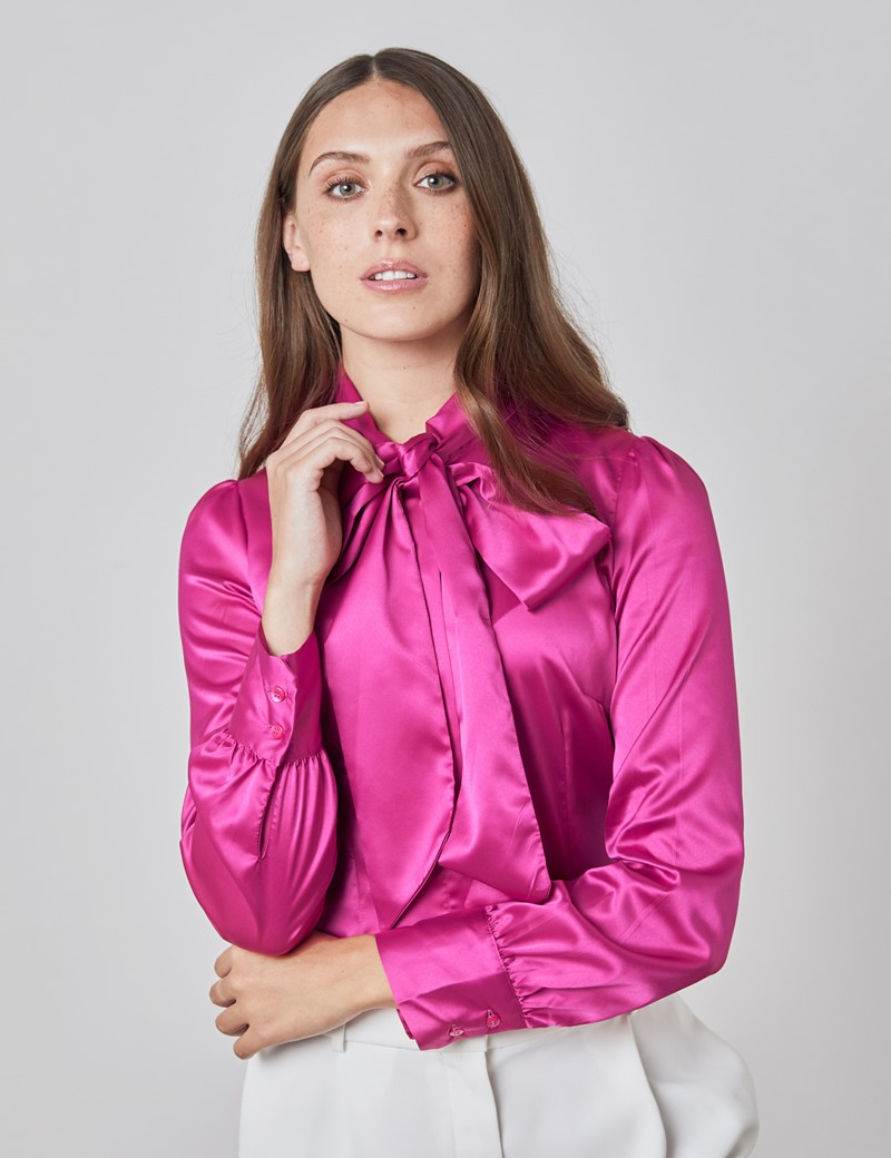 Schluppenbluse – Slim Fit – Satin – pink