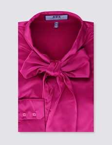 Women's Bright Pink Fitted Satin Blouse - Single Cuff - Pussy Bow