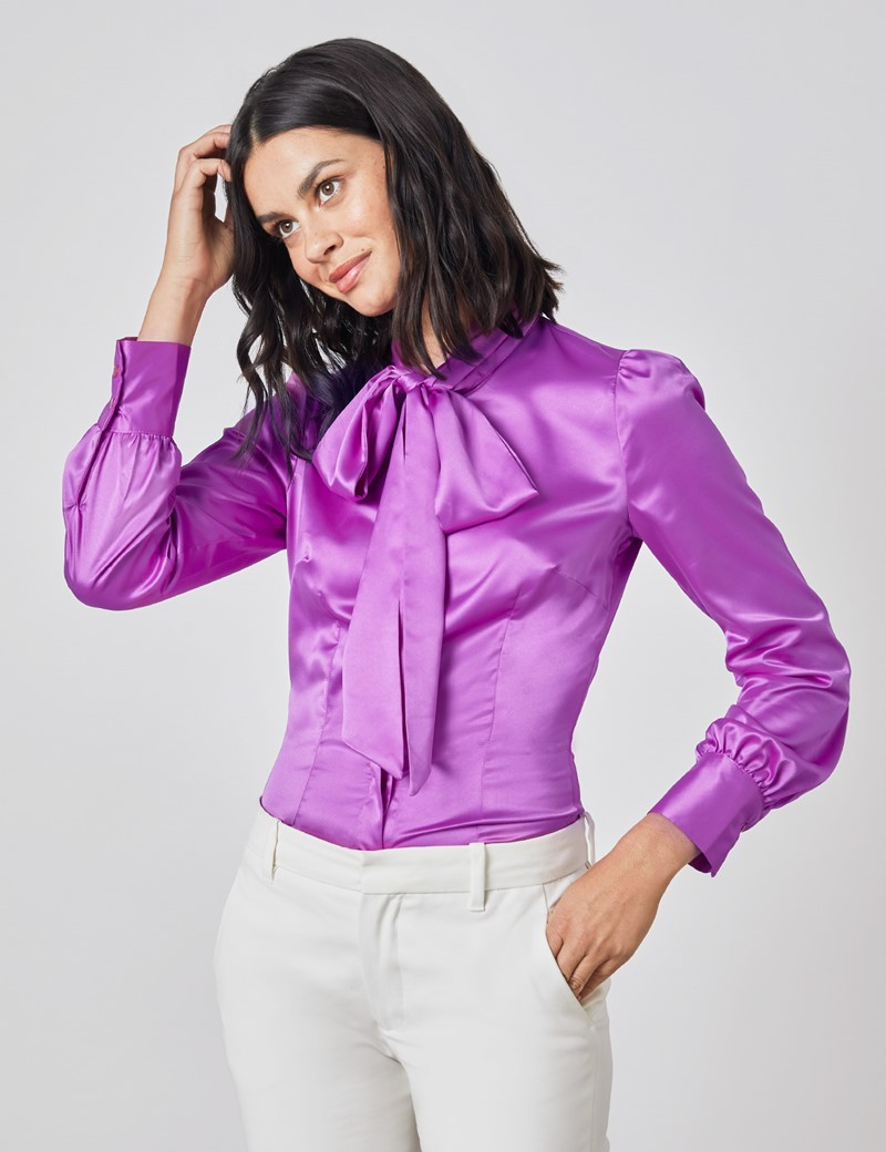 Women's Bright Purple Fitted Satin Blouse - Single Cuff - Pussy Bow