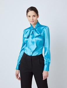 Women's Marine Fitted Satin Blouse - Single Cuff - Pussy Bow