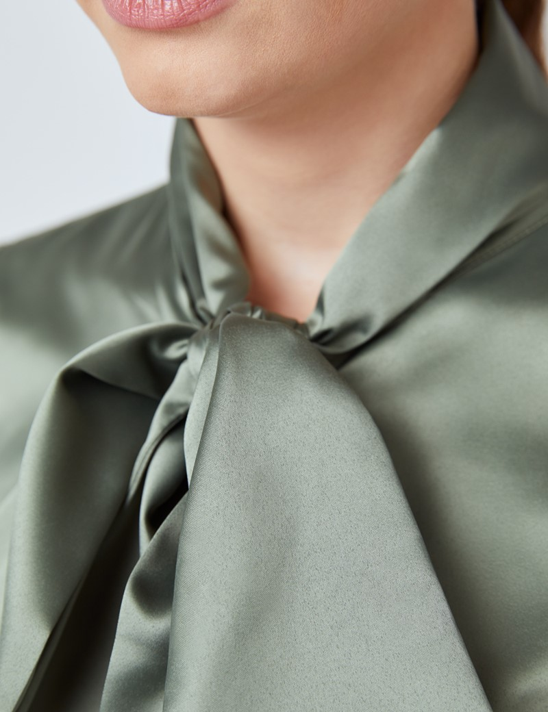 Women's Olive Fitted Satin Blouse - Single Cuff - Pussy Bow