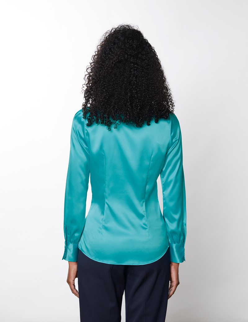 Women's Aqua Fitted Luxury Satin Blouse - Pussy Bow