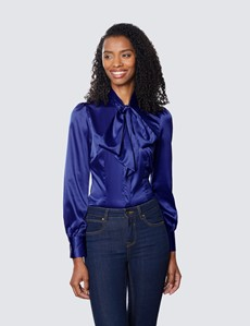 Women's Royal Blue Fitted Luxury Satin Blouse - Pussy Bow
