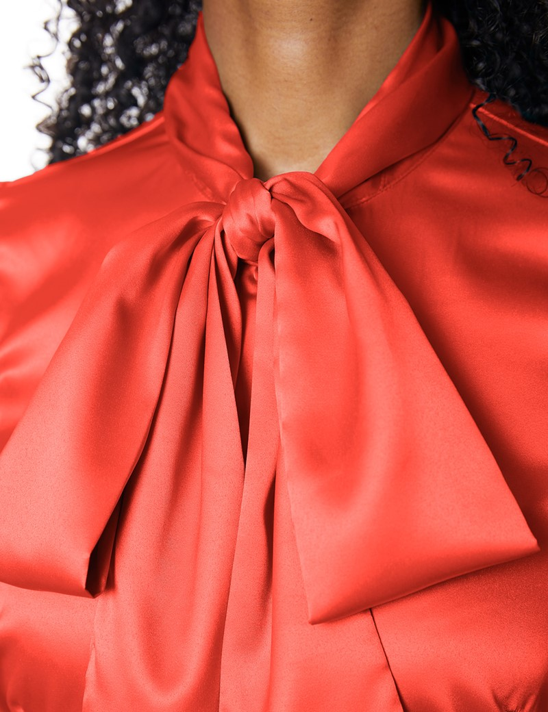 Women's Paprika Fitted Luxury Satin Blouse - Pussy Bow