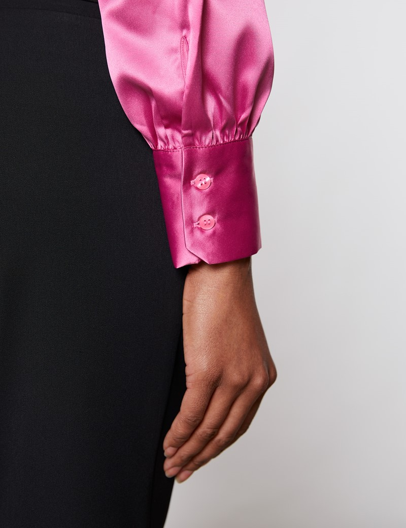 Women's Peony Fitted Luxury Satin Blouse - Pussy Bow