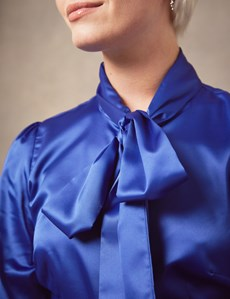 Women's Blue Fitted Luxury Satin Blouse - Pussy Bow