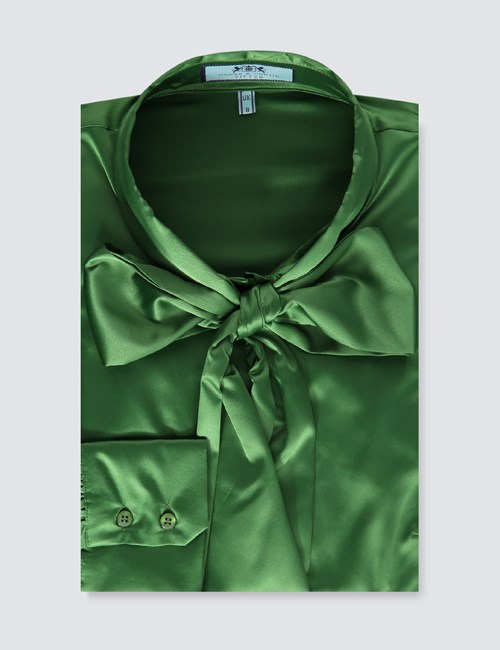 Women's Cactus Green Fitted Luxury Satin Blouse - Pussy Bow