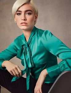 Women's Peacock Green Fitted Luxury Satin Blouse - Pussy Bow