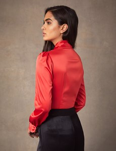 Women's Paprika Red Fitted Luxury Satin Blouse - Pussy Bow