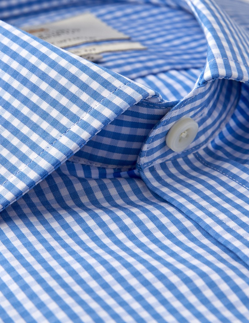 Men's Formal Blue & White Gingham Check Classic Fit Shirt - Single Cuff - Chest Pocket - Easy Iron