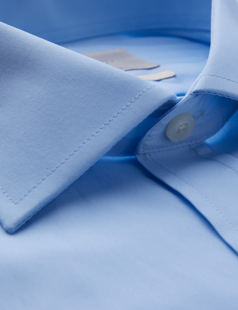 Men's Business Blue Poplin Classic Fit Shirt With Pocket - Single Cuff - Easy Iron