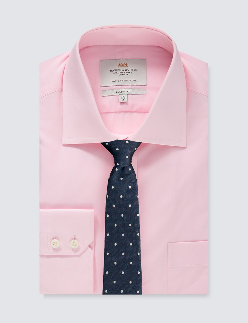 Men's Business Pink Poplin Classic Fit Shirt With Pocket - Single Cuff - Easy Iron