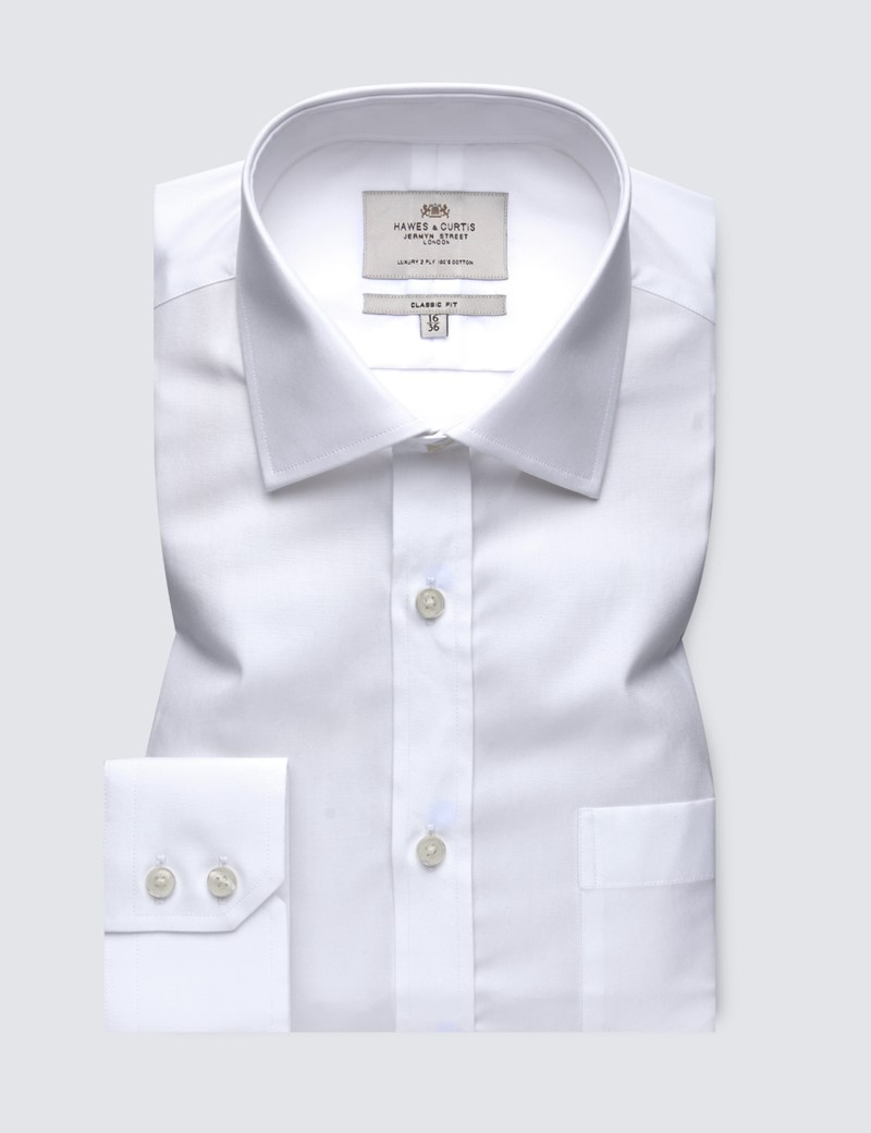 Men's White Poplin Classic Fit Dress Shirt With Pocket - Single Cuff - Easy Iron