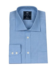 Men's Plain Blue End on End Classic Fit Business Shirt