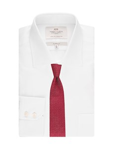 Men's  White End on End Classic Fit Shirt - Silk Touch - Single Cuff - Easy Iron
