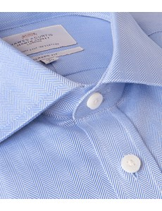 Men's Blue Herringbone Business Dress Shirt - With Pocket - Single Cuff - Easy Iron