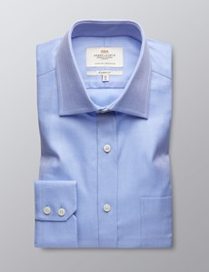 Men's  Blue Herringbone Business Shirt With Pocket - Single Cuff - Easy Iron