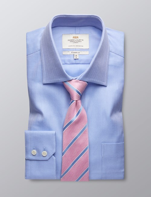 Men's Formal Blue Herringbone Shirt With Pocket - Single Cuff - Easy Iron