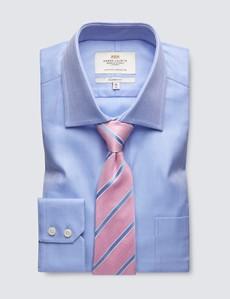 Bügelleichtes Businesshemd – Classic Fit – Brusttasche – Fischgrat hellblau