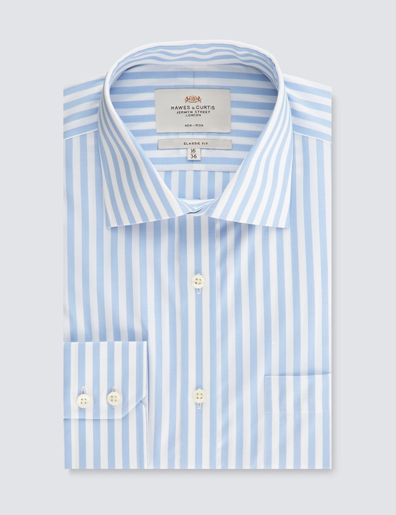 Men's Business Light Blue & White Classic Fit Shirt - Single Cuff - Non Iron
