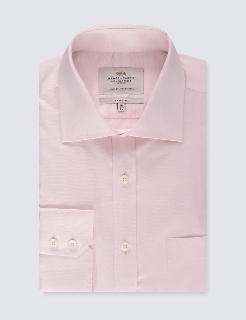 Men's Formal Pink Textured Classic Fit Shirt - Single Cuff- Chest Pocket - Easy Iron