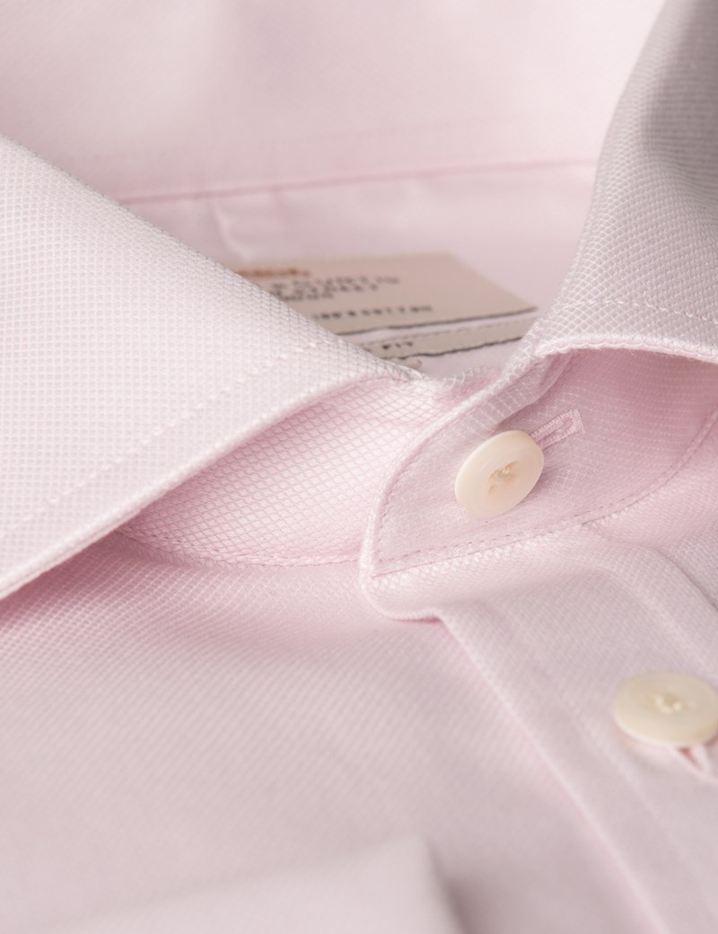 Men's Pink Textured Classic Fit Dress Shirt - Single Cuff- Chest Pocket - Easy Iron