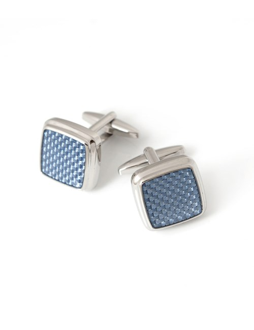 Men's Blue Square Dogstooth Cufflinks