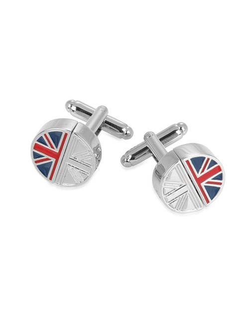 Men's Silver & Blue Reversible Flag Cufflink