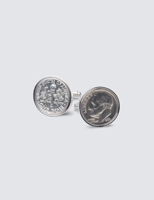 Silver Dime Coin Cufflink