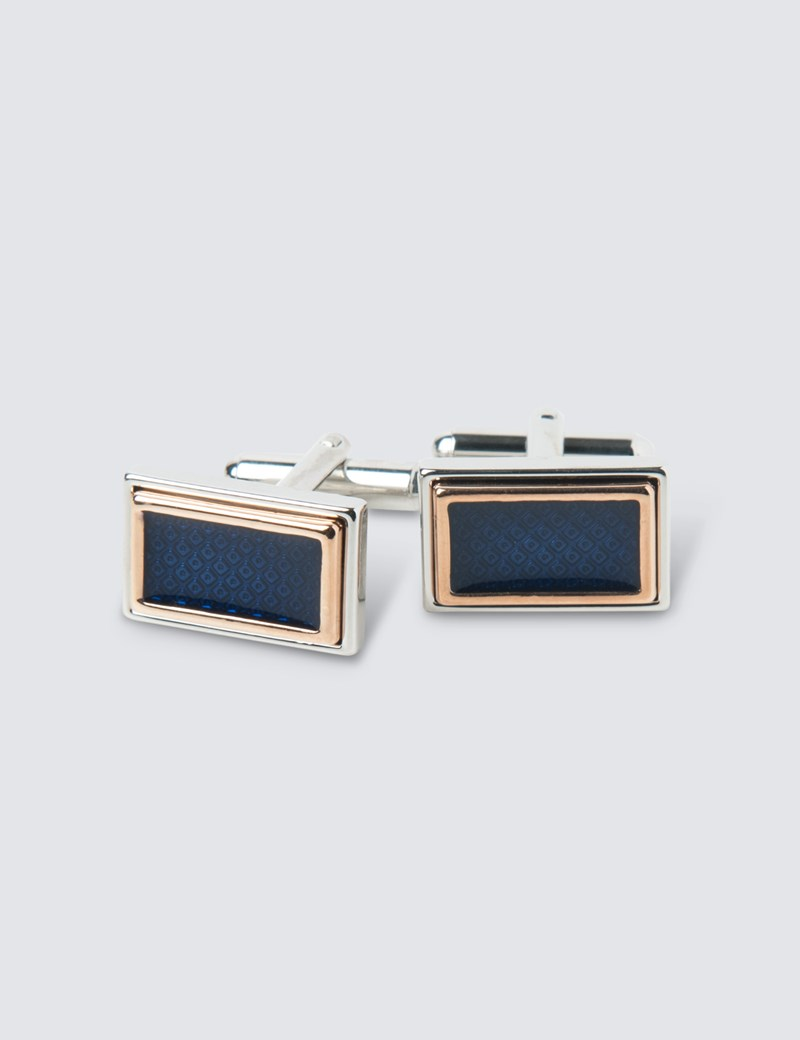 Men's Navy Rectangle Steps Cufflink