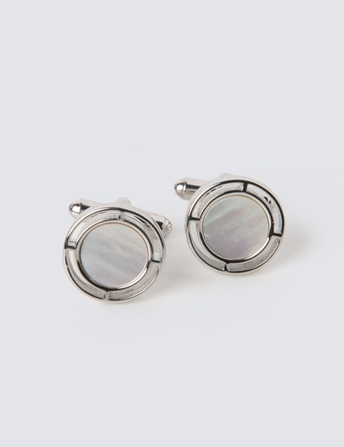 Men's Silver & Clear Deco Print Cufflinks