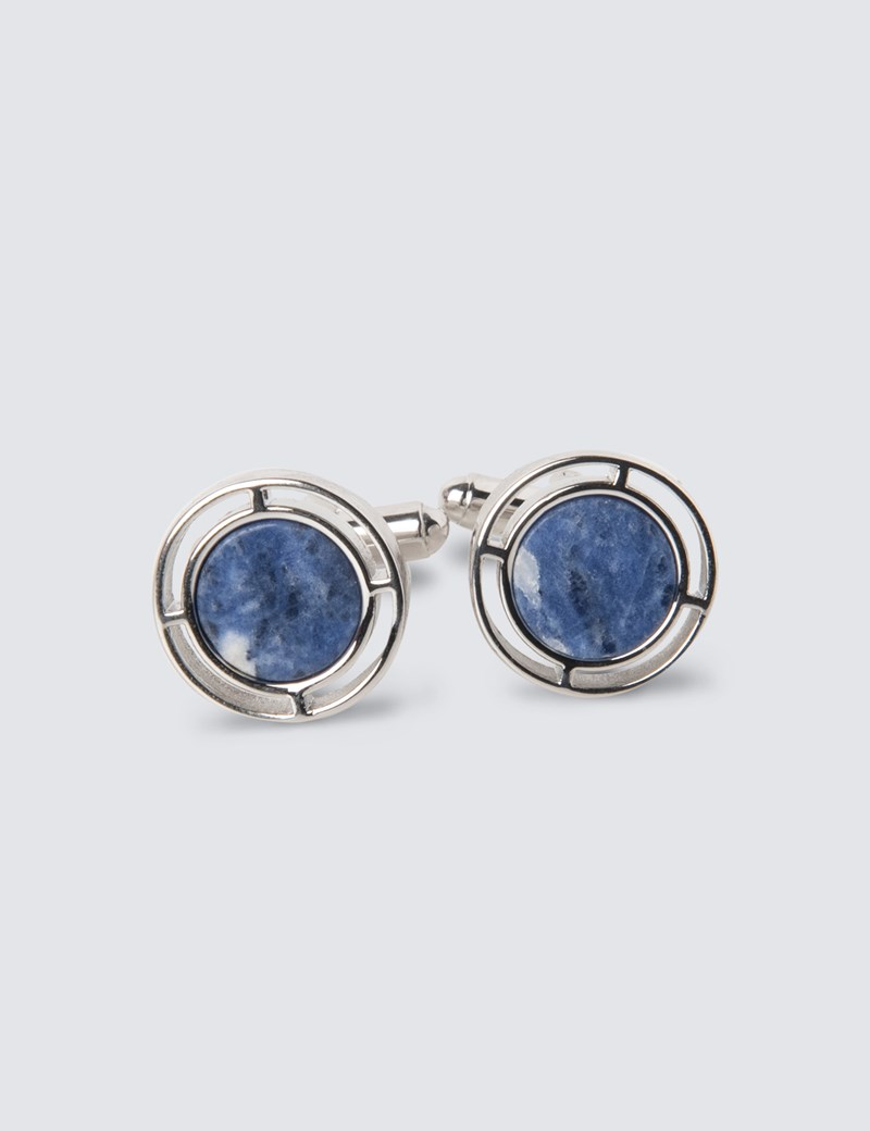Men's Silver & Blue Deco Print Cufflinks