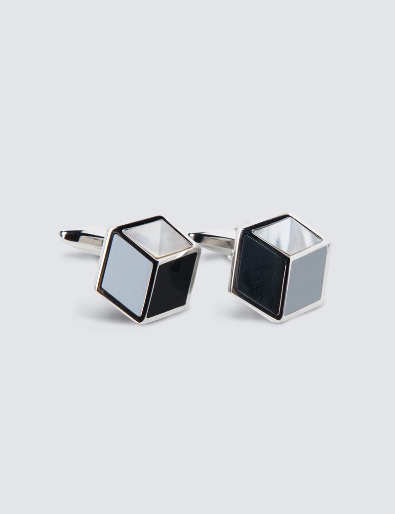Unisex Manschettenknöpfe – Rhodiniert – Dreidimensionaler Quader