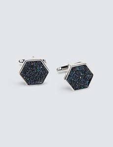 Manschettenknöpfe – Rhodiniert – Hexagon mit blauer Einlage