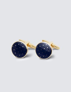Men's Navy & Gold Round Dots Cufflinks