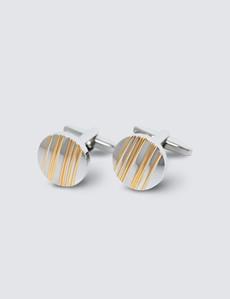 Men's Silver & Gold Striped Cufflinks