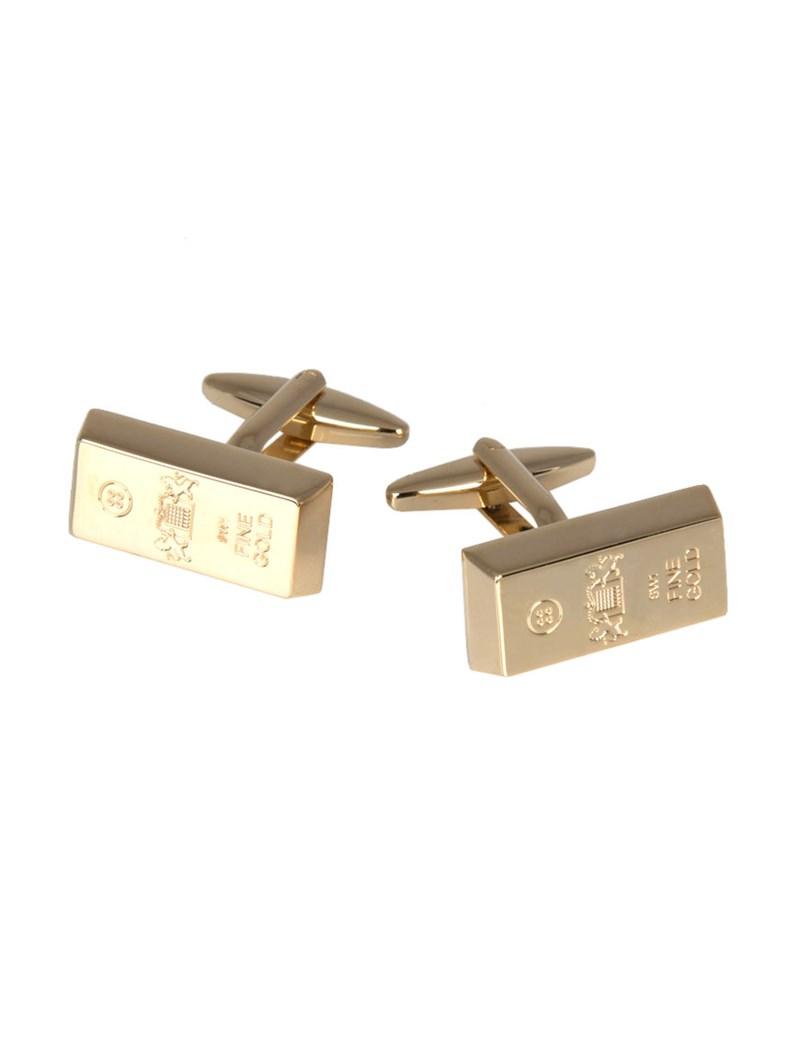 Men's Crest Gold Bar Cufflink