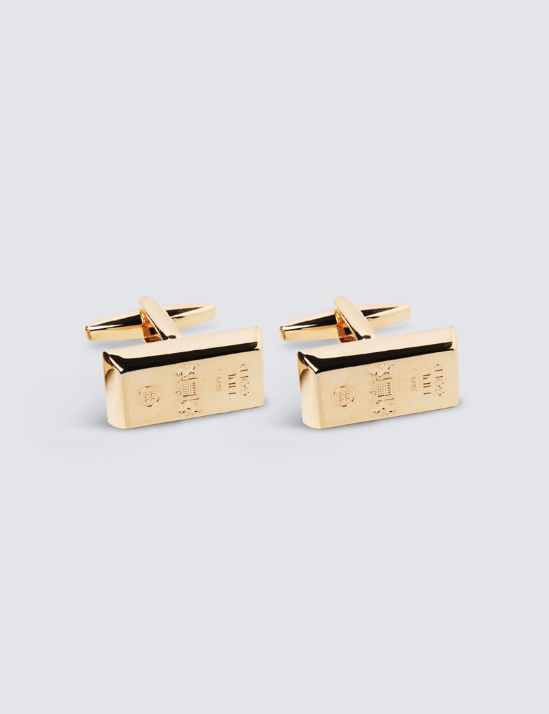 Men's Crest Gold Bar Cufflink